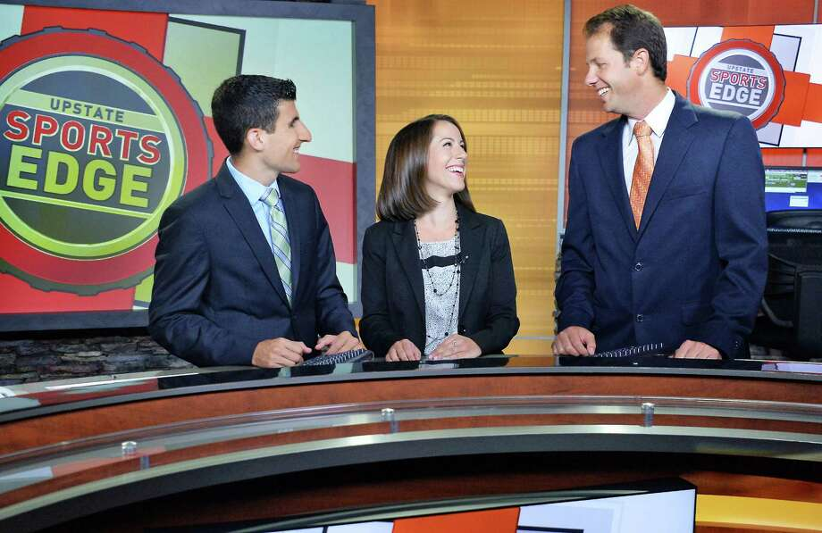 Jason Lewis, left, Brittany Devane and host Kelly O'Donnell on the set of Upstate Sports Edge at the WRGB Studios Thursday August 20, 2015 in Schenectady, NY.  (John Carl D'Annibale / Times Union) Photo: John Carl D'Annibale / 00033068A