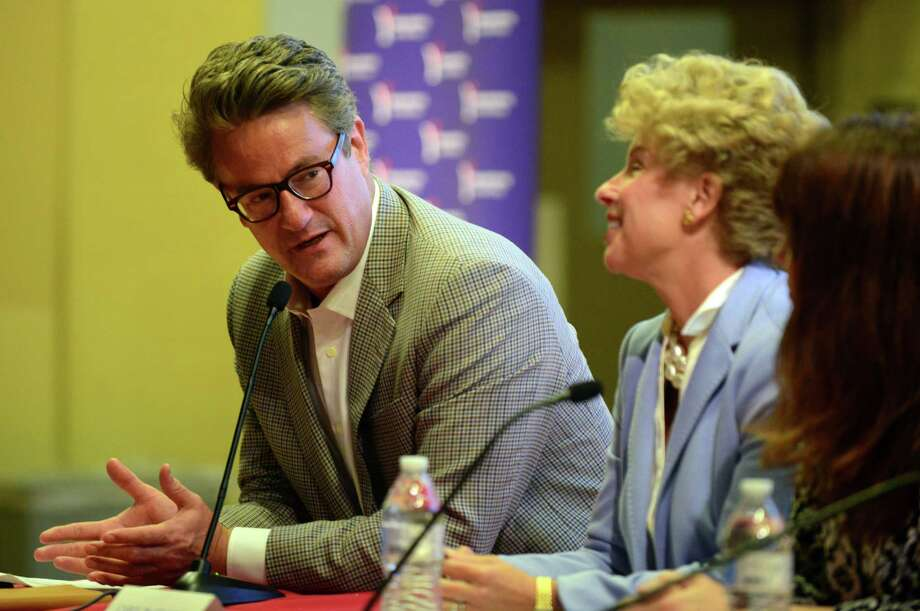 "Joe Scarborough, conservative host of MSNBC's Morning Joe and New Canaan resident, takes part in a forum with local politicians at Fairfield University's Gonzaga Hall in Fairfield, Conn., on Thursday Aug. 19, 2015. The forum, kicks off ""The Shirt Off My Back"" state-wide tour, and was sponsored by the conservative group Yankee Institute for Public Policy, based in Hartford. Discussions centered around fiscal policies of the Malloy administration. Photo: Christian Abraham / Hearst Connecticut Media / Connecticut Post"