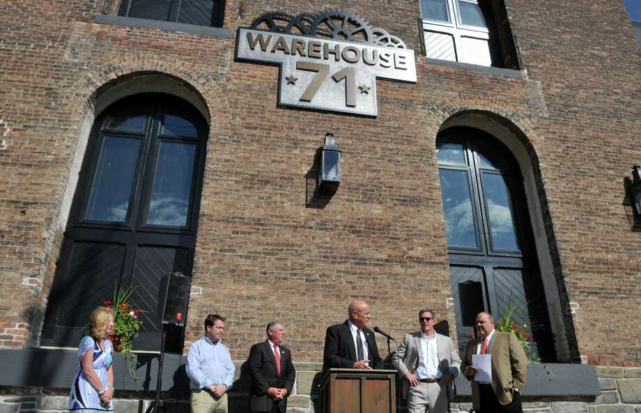 Cohoes Mayor George Primeau speaks during a ribbon cutting ceremony for Warehouse 71 on Thursday, Aug 20, 2015, in Cohoes, N.Y. (Phoebe Sheehan/Special to The Times Union) Photo: PS / 00033065A