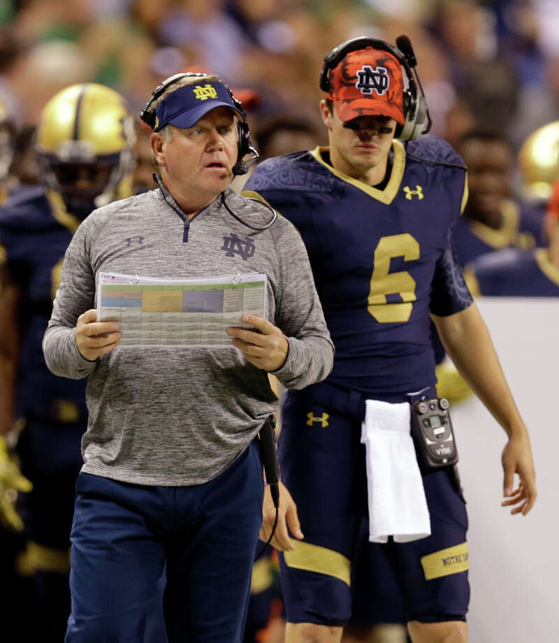 Notre Dame coach Brian Kelly calls a play during the first half of Notre Dame's NCAA college football game against Purdue in Indianapolis, Saturday, Sept. 13, 2014. (AP Photo/Michael Conroy) ORG XMIT: INMC109 Photo: Michael Conroy / AP