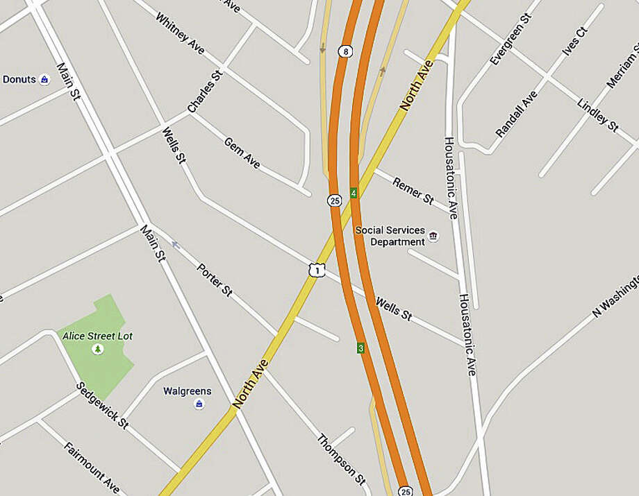 Bridge work on northbound Route 8/25 will continue through Friday, Aug. 28, 2015, the state Department of Transportation says. Photo: Google Maps