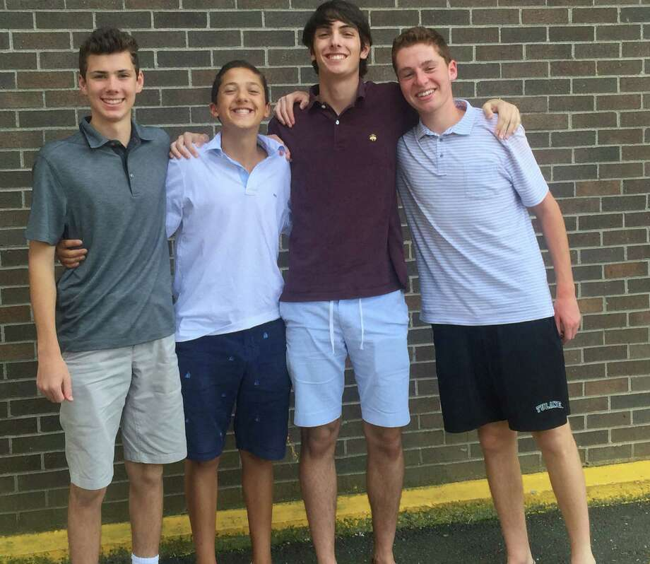 From left: Cooper Boardman, Zach Edelman, Adam Kaplan and Jacob Bonn have continued the award-winning tradition of the WWPT and TV stations. Photo: Ryan Lacey /Staff Photo / Westport News Contributed