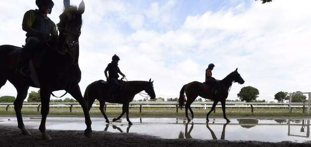 The rain is over but the puddles remain at Saratoga Race Course on Friday. (Skip Dickstein / Times Union)