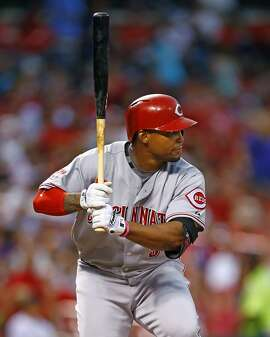 Cincinnati Reds' Marlon Byrd at bat during a baseball game against the St. Louis Cardinals, Wednesday, July 29, 2015, in St. Louis. (AP Photo/Billy Hurst)