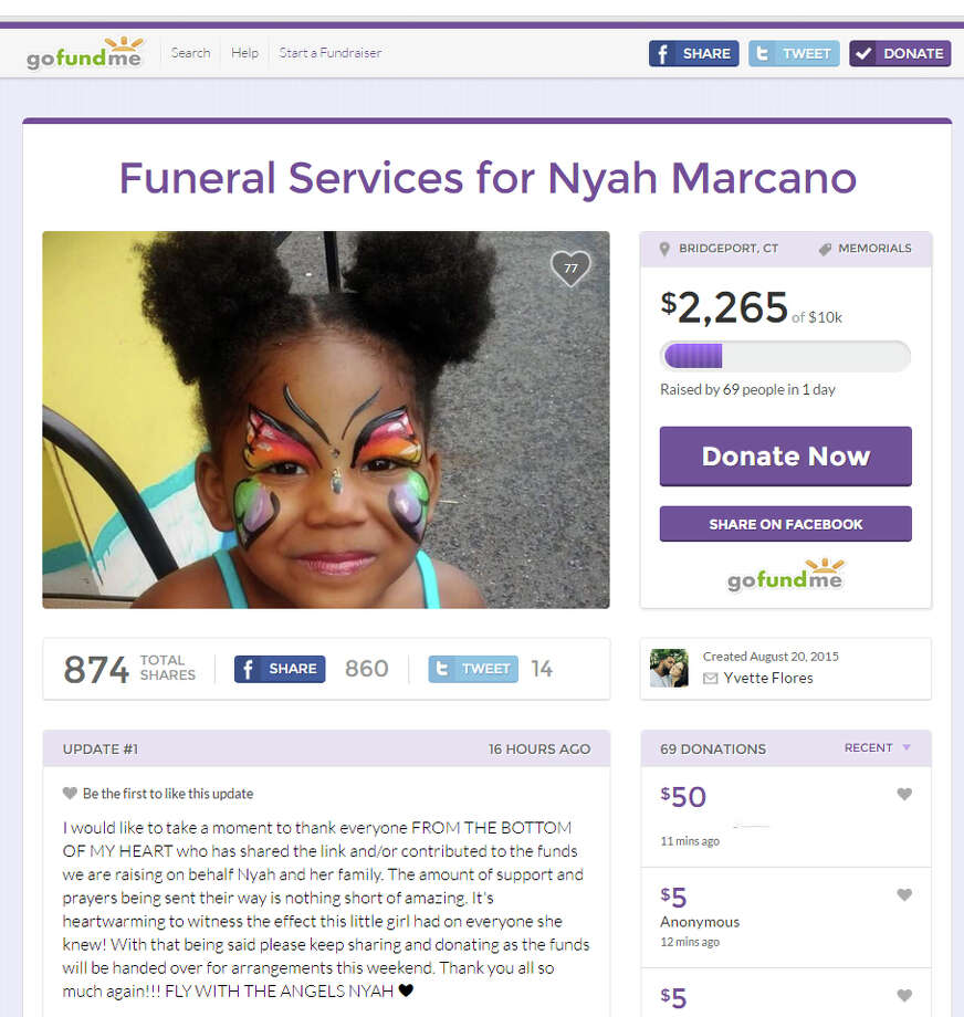 A gofundme page was set up for Six-year-old Nyah Marcano, who was killed when the vehicle she was riding in  crashed in Route 8 in Shelton Monday, Aug. 17, 2015. Photo: Contributed / Contributed Photo / Connecticut Post Contributed