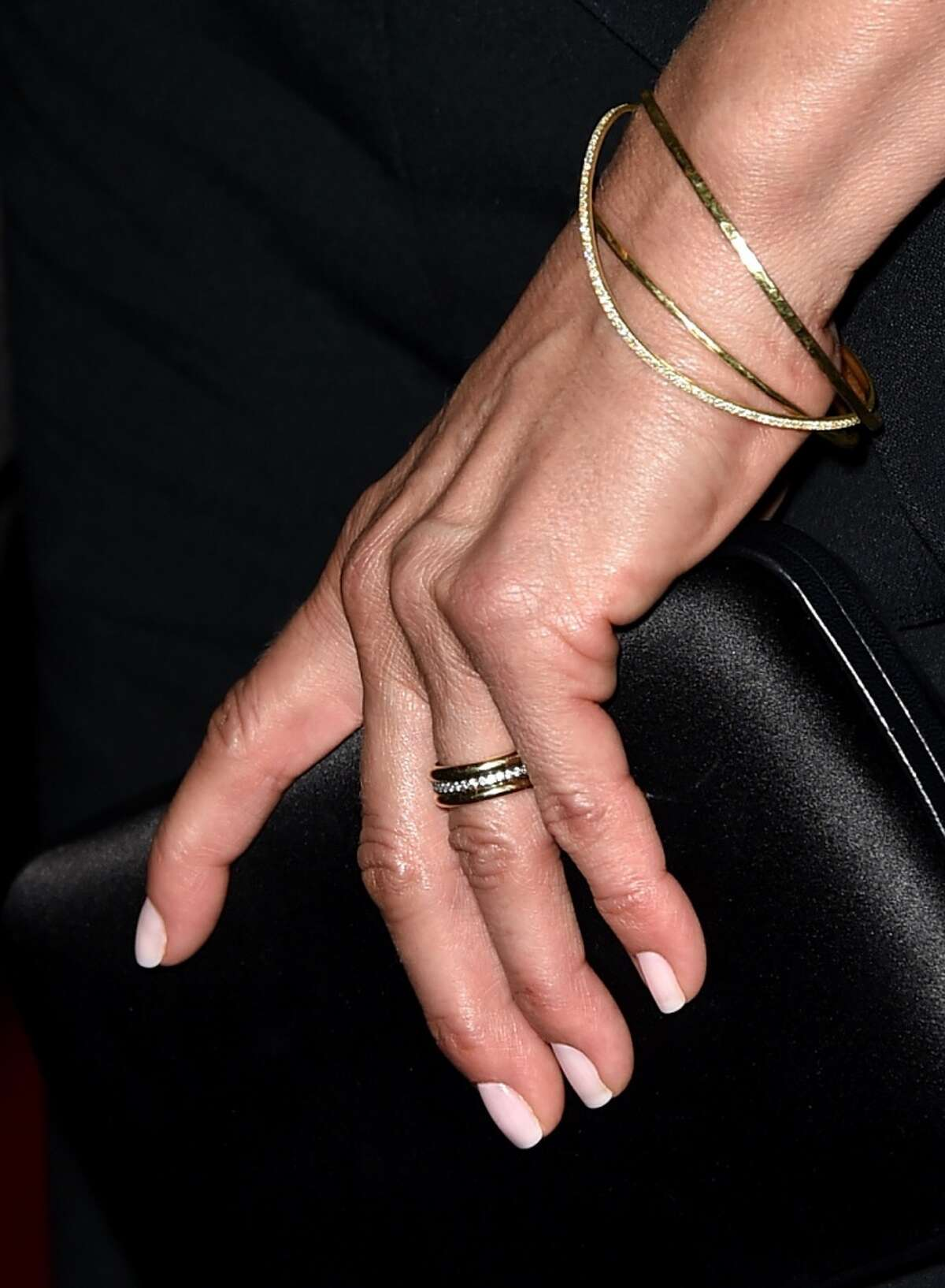 """Aniston debuted her wedding ring for the first time at the """"She's Funny That Way"""" premiere in Los Angles."""