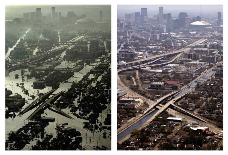 Two photos show the changes to New Orleans in the two weeks since Hurricane Katrina. At right is a  view of damage from looking from the west towards downtown New Orleans Aug. 30, 2005. At right, the same scene as floodwaters recede on Sept. 11, 2005. Photo: POOL, SMILEY, AP / THE DALLAS MORNING NEWS