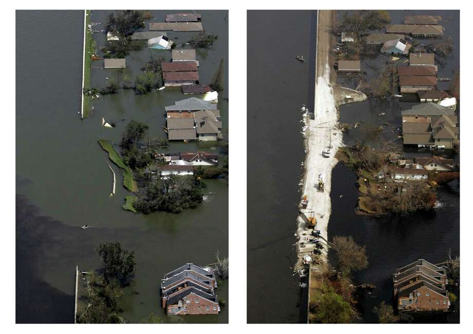 Two photos show the changes to New Orleans in the two weeks since Hurricane Katrina.  At left, a break is seen in the levee of the 17th Street Canal on Aug. 30, 2005. At right, the repairs are seen Sept. 10, 2005. Photo: SMILEY POOL, AP / THE DALLAS MORNING NEWS