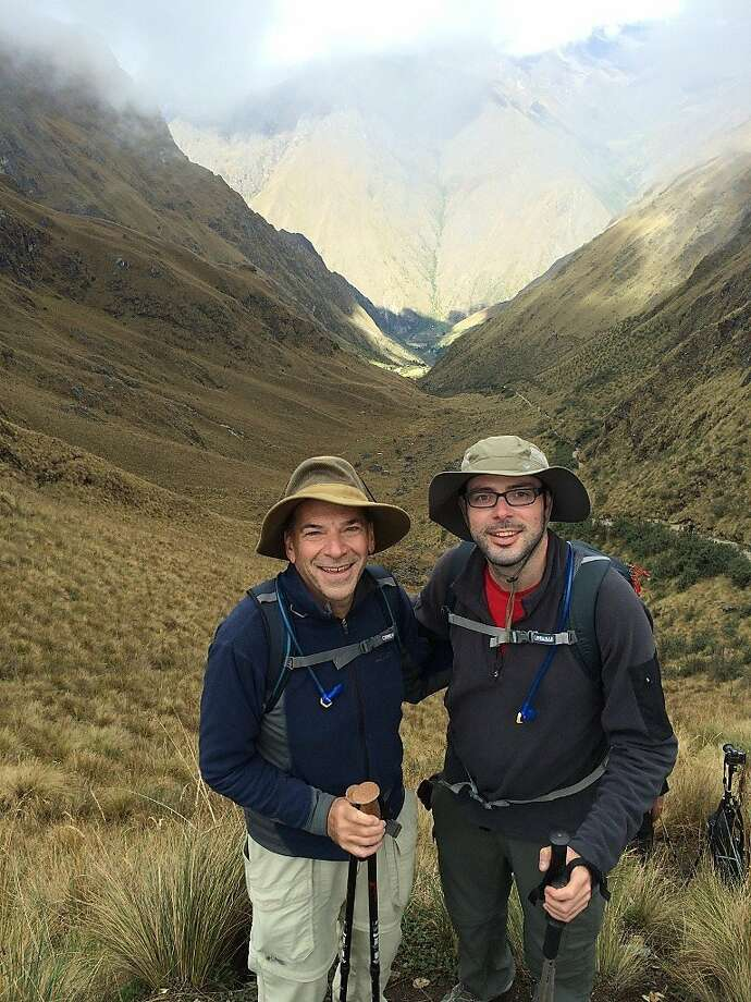 David and Rick Norman at the top of Dead Woman's Pass on the Inca Trail to Machu Picchu. Photo: David Norman