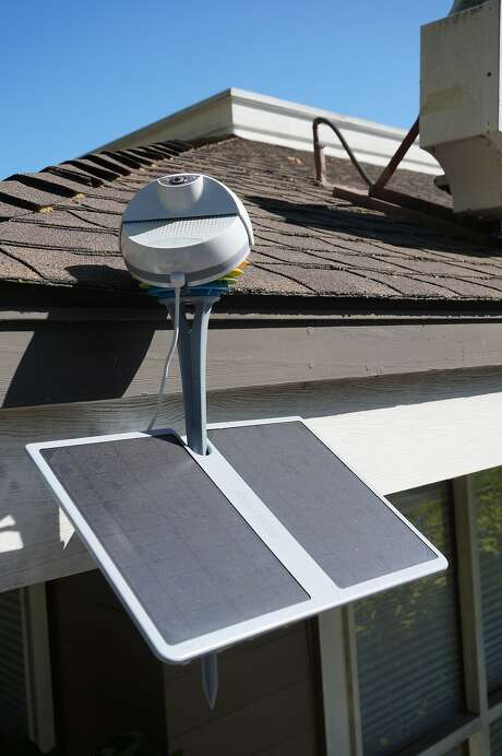 A BloomSky Outdoor Weather Station sits on the roof of the Menlo Park startup's headquarters. Photo: Photos By BloomSky