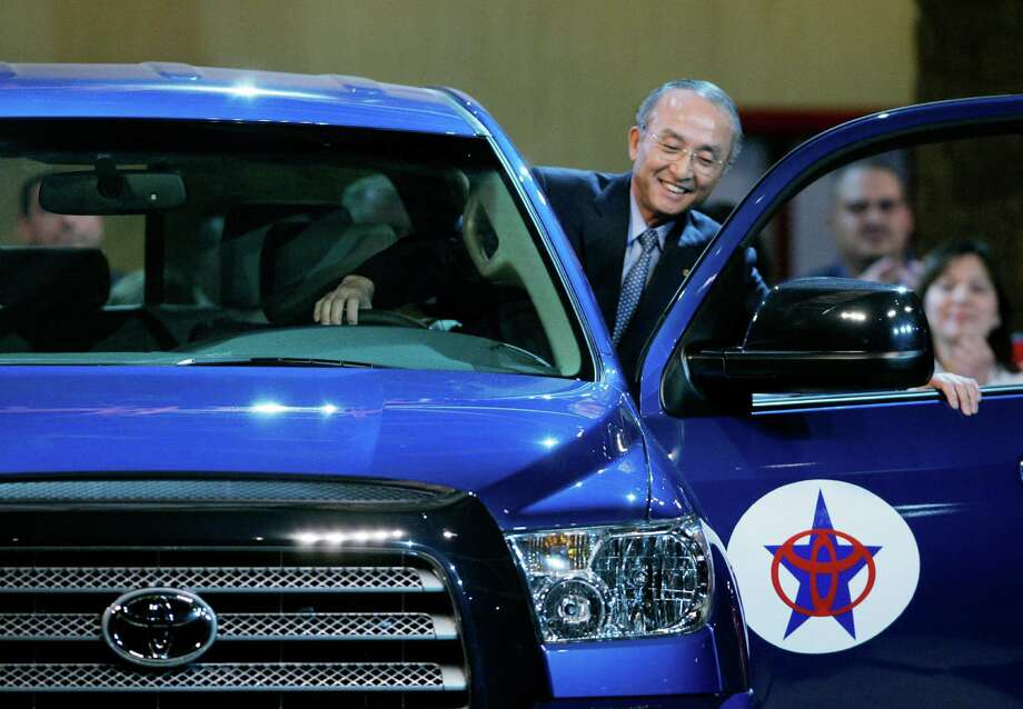 Toyota Motor Corporation president Katsuaki Watanabe climbs into a 2007 Toyota Tundra during opening ceremonies at its plant on San Antonio's South Side. Photo: Eric Gay /AP / AP