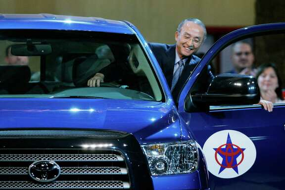Toyota Motor Corporation president Katsuaki Watanabe climbs into a 2007 Toyota Tundra during opening ceremonies at its plant on San Antonio's South Side.