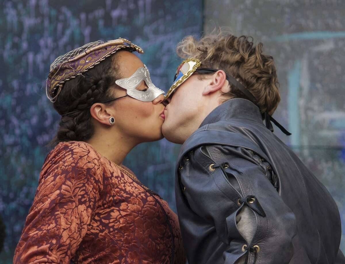 Juliet (Lauren Spencer) and Romeo (Carl Holvick) meet at the masked ball in San Francisco Shakespeare's
