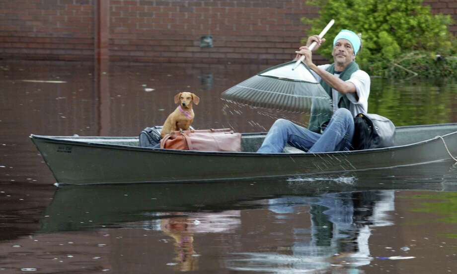 A man uses a rake as as paddle as he heads down a flooded New Orleans street with his dog. Photo: IRWIN THOMPSON, KRT / DALLAS MORNING NEWS