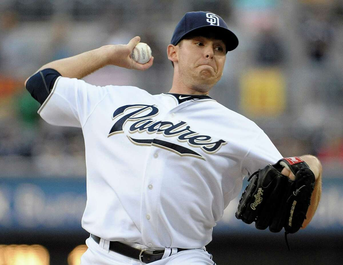 SAN DIEGO, CA - AUGUST 18: Tim Stauffer #46 of the San Diego Padres pitches during the first inning of a baseball game against the Florida Marlins at Petco Park on August 18, 2011 in San Diego, California. (Photo by Denis Poroy/Getty Images)