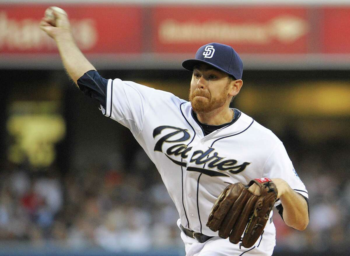 SAN DIEGO, CA - JUNE 21: Tim Stauffer #46 of the San Diego Padres pitches during the second inning of a baseball game against the Los Angeles Dodgers at Petco Park on June 21, 2013 in San Diego, California. (Photo by Denis Poroy/Getty Images)