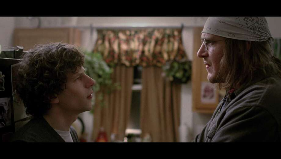 """Jesse Eisenberg (left) as David Lipsky and Jason Segal (right) as David Foster Wallace in """"The End of the Tour,"""" Photo: A24 / ONLINE_YES"""