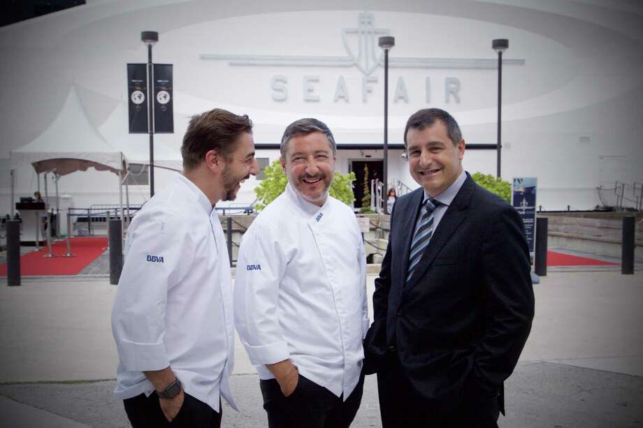 The Roca brothers - pastry chef Jordi Roca, from left, head chef Joan Roca and sommelier Josep Roca - run  the No. 1-rated restaurant in the world, El Celler de Can Roca in Girona, Spain. They are participating in the 2015 Roca culinary tour sponsored by BBVA Compass. The tour visits HoustonMonday-Wednesday. Photo: Francisco Gonzalez