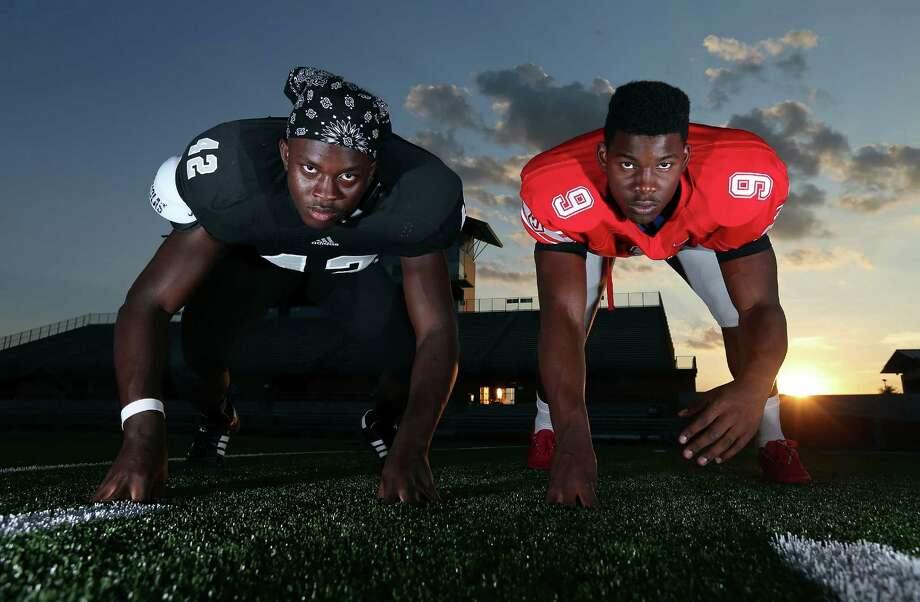 Portrait of Steele defensive end Mark Jackson (left) and Judson defensive end Alton Robinson Monday Aug. 17, 2015 at Heroes Stadium. Photo: Edward A. Ornelas, Staff / San Antonio Express-News / © 2015 San Antonio Express-News