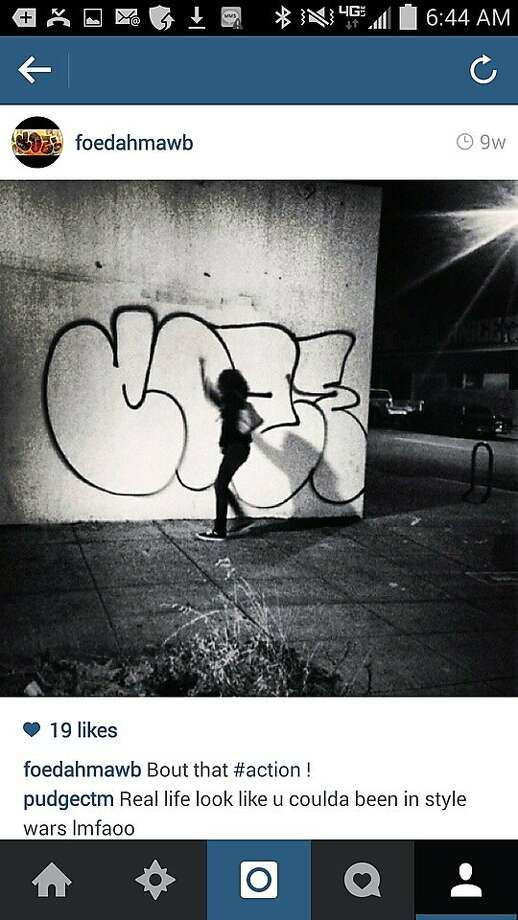 This Instagram photo appears to show Cozy Terry in the act of tagging. The name on the account, foedahmawb, is cited in the civil complaint filed by the city attorney's office, which provided this image. Photo: San Francisco City Attorney