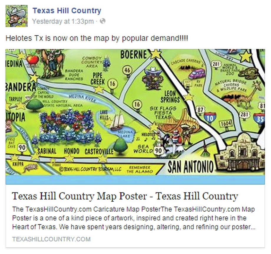 Helotes Finally Added To Colorful Texas Hill Country Map San