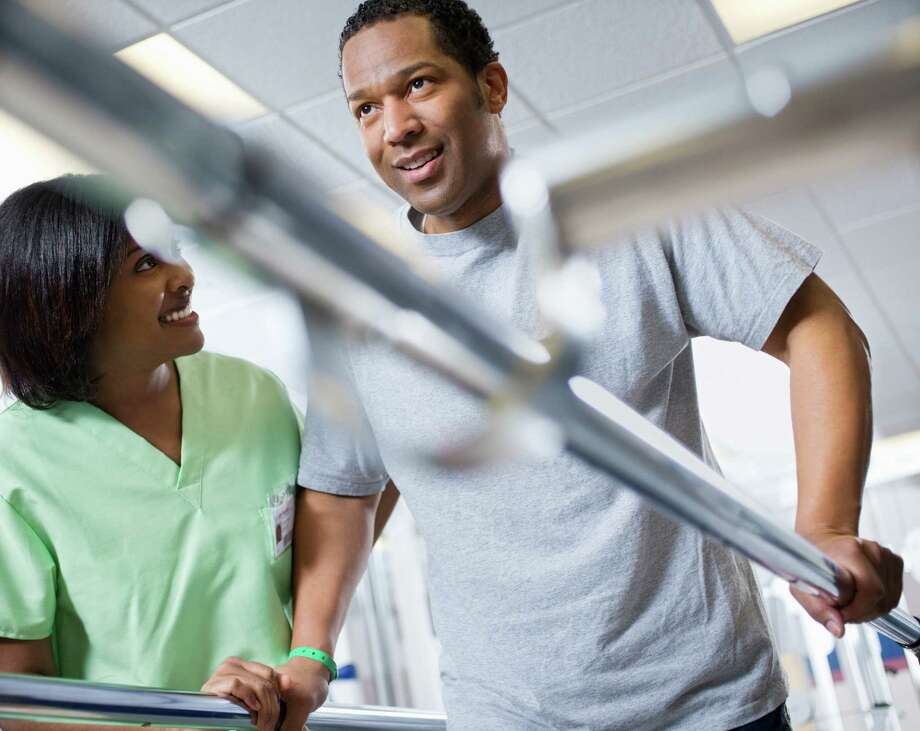 Physical therapist assistants wear many hats during a workday, with varying treatments and patients' health needs. / Fuse