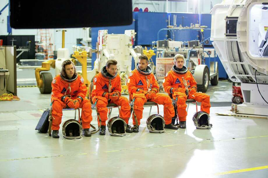 "One Direction filmed the video for ""Drag Me Down"" at NASA's Johnson Space Center. From left, Harry Stiles, Louis Tomlinson, Liam Payne and Niall Horan."