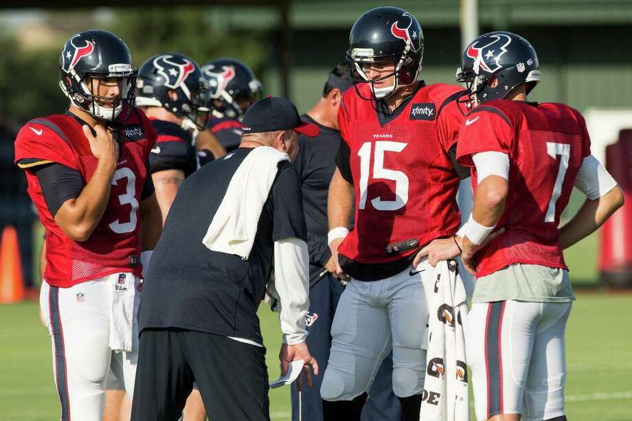 Texans coach Bill O'Brien says quarterbacks Ryan Mallett (15), Brian Hoyer (7) and Tom Savage (3) all will play against the Broncos. Photo: Brett Coomer, Staff / © 2015 Houston Chronicle