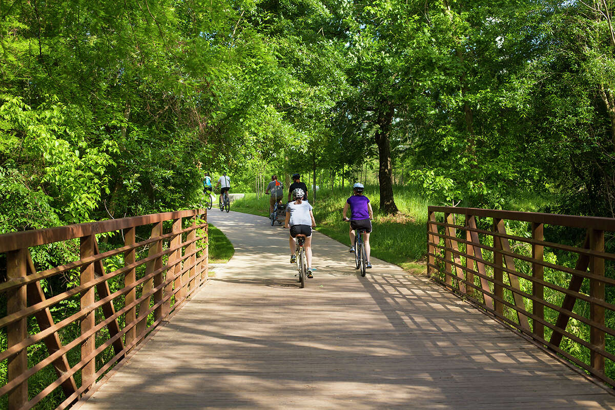 Bikers use the new trails at Buffalo Bayou Park, opened this year.