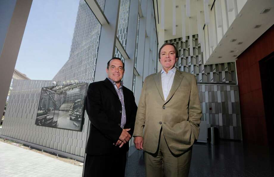 Tobin Center CEO Mike Fresher (left) with Chairman of the Bexar County Performing Arts Center Foundation J. Bruce Bugg Jr.  Photo: Kin Man Hui, Staff / San Antonio Express-News / ©2015 San Antonio Express-News