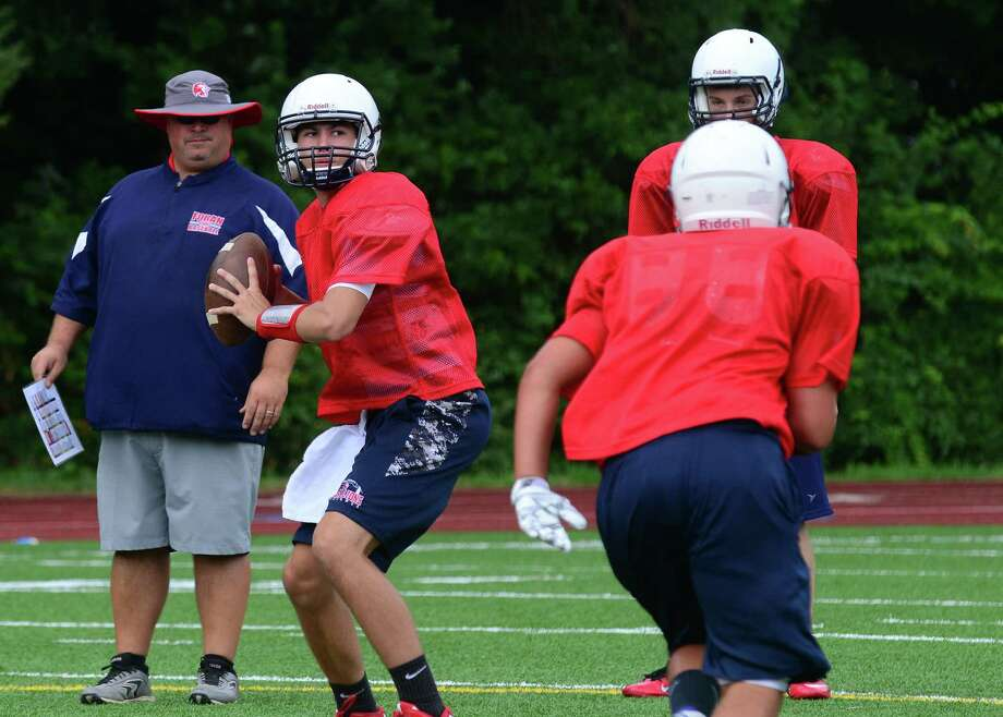QB Lance DiNatale during Foran High School's football practice in Milford, Conn., on Friday Aug. 21, 2015. Photo: Christian Abraham / Hearst Connecticut Media / Connecticut Post
