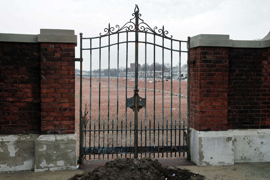 The old pedestrian gate is the only structure that remains at the former GE property on Boston Ave. in Bridgeport, Conn., March 12, 2014. This is the site of a proposed new high school that would replace Harding High School. Photo: Ned Gerard / Ned Gerard / Connecticut Post