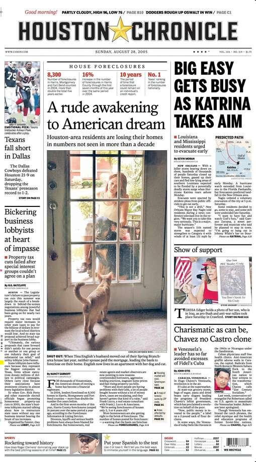 Houston Chronicle A1 on Aug. 28, 2005 Photo: Houston Chronicle
