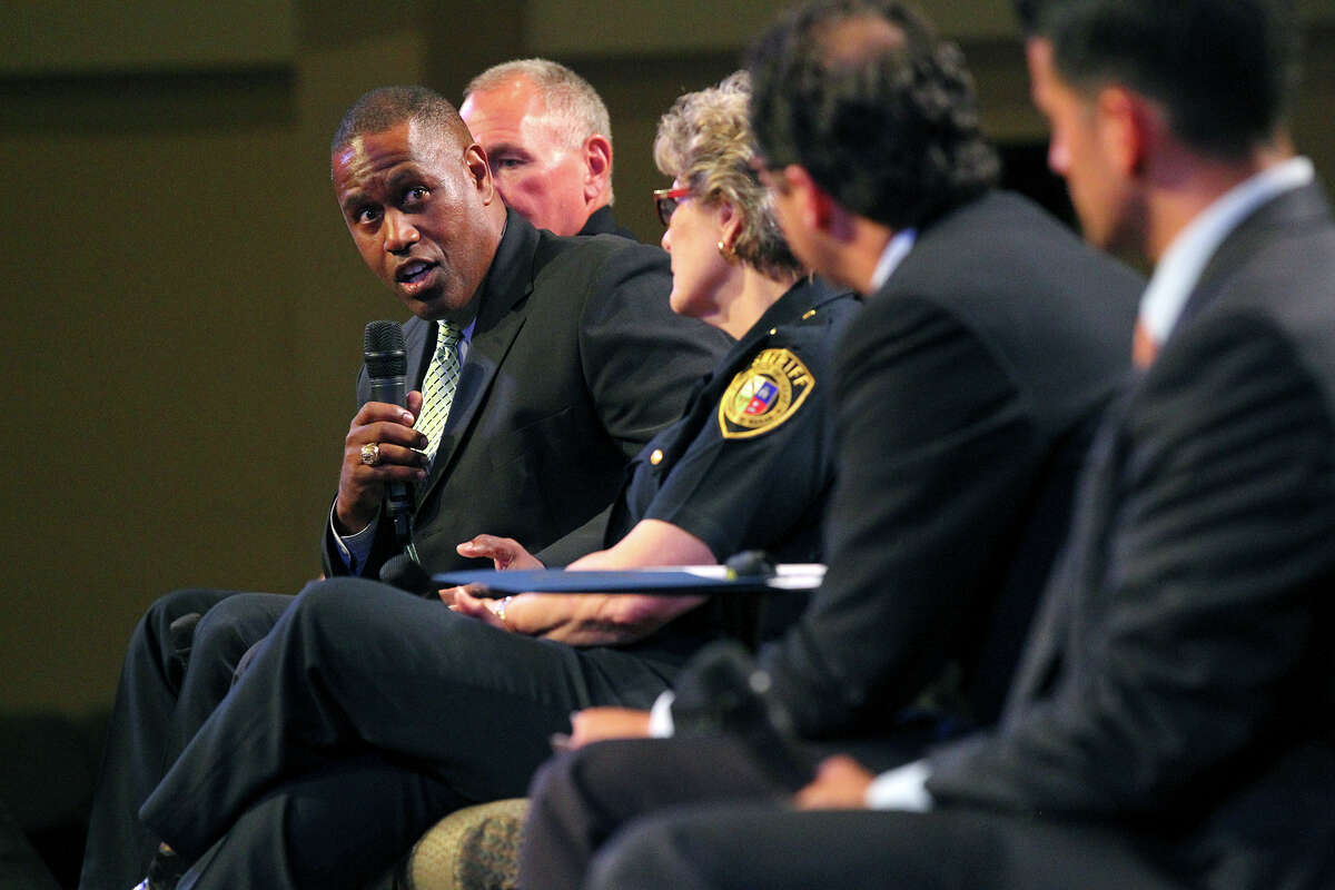 Attorney Stephen Foster addresses a question from the audience during the two-hour Civil Rights and Community Policing Forum at True Vision Church. The Thursday forum was led by state Sen. José Menéndez.