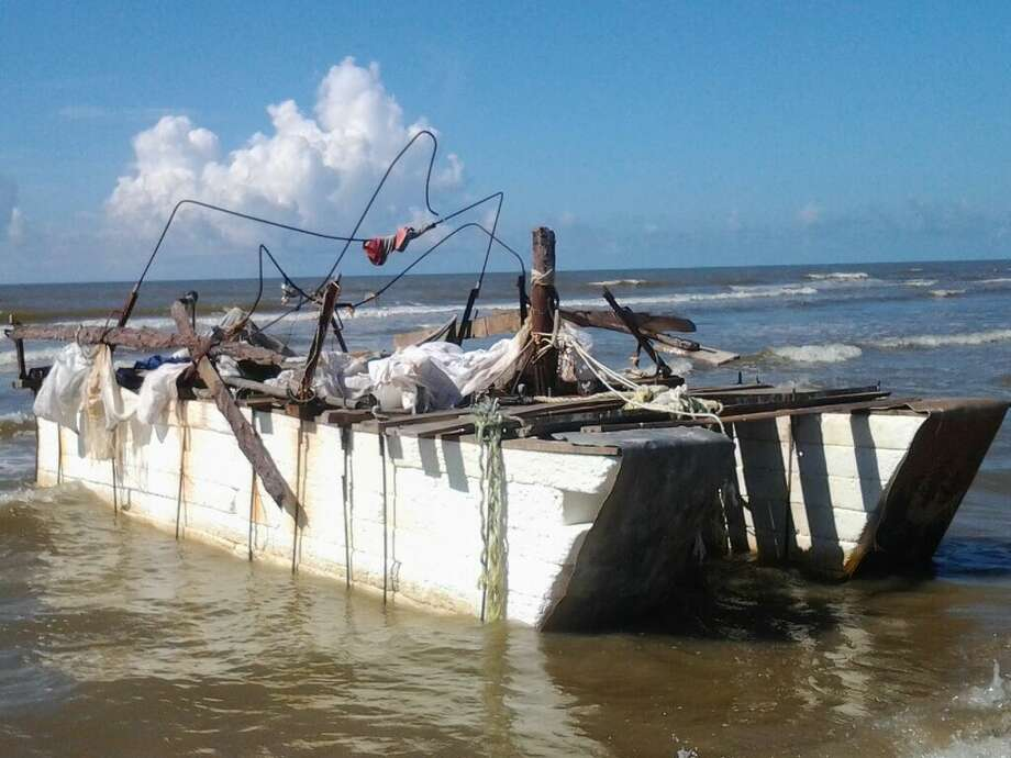 A raft carrying objects that originated in Cuba washed onshore near Matagorda Bay in late June. This is one of the first photographs taken of it, by Bay City resident Suzanne Williams. Photo: Suzanne Williams
