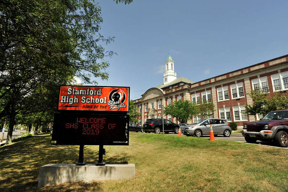 A sign welcomes the class of 2019 at Stamford High School. The district officially opens Aug. 31. The Board of Education holds its monthly meeting on Tuesday. Photo: Jason Rearick / Hearst Connecticut Media / Stamford Advocate