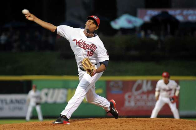 ValleyCats' Yeyfry Del Rosario releases the pitch during their baseball game against the Renegades on Friday, Aug. 21, 2015, at Joe Bruno Stadium in Troy, N.Y. (Cindy Schultz / Times Union) Photo: Cindy Schultz / 00033059A