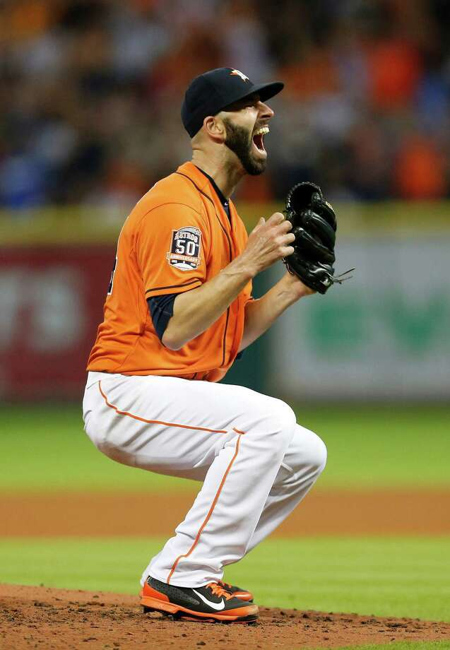 Astros righthander Mike Fiers was the man of the hour Friday night after going the distance for a no-hitter against the Dodgers at Minute Maid Park. It was the Astros' 11th no-hitter and the fifth thrown in MLB this season. Photo: Karen Warren, Staff / © 2015 Houston Chronicle