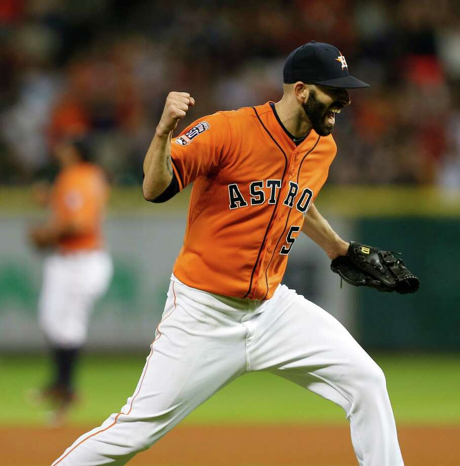 Houston Astros starting pitcher Mike Fiers (54) celebrates his no-hitter against Los Angeles Dodgers after an MLB game at Minute Maid Park on Friday, Aug. 21, 2015, in Houston. ( Karen Warren / Houston Chronicle ) Photo: Karen Warren, Staff / © 2015 Houston Chronicle