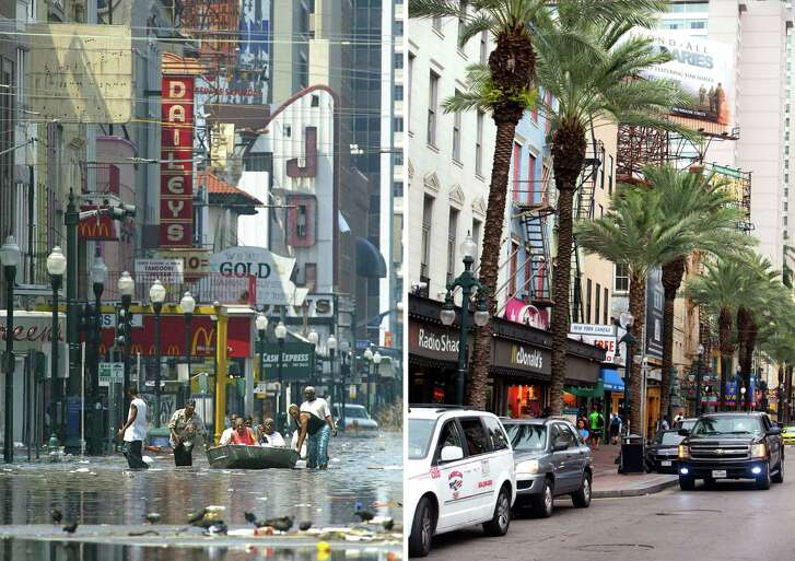 NOW: Rebuilt businesses are seen on Canal Street on Aug. 16, as the 10-year anniversary of Katrina approached.