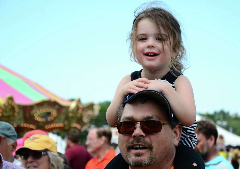 Millie Buchheit and her father, Brett, of Denver, Colo., stopped by the 64th annual Bridgewater Country Fair Saturday, Aug. 22, 2015, during a visit to Connecticut. Photo: Nelson Oliveira / Nelson Oliveira / The News-Times
