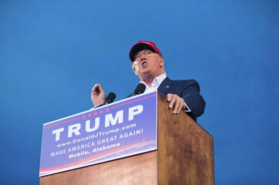 Republican presidential candidate Donald Trump speaks during a campaign rally in Mobile, Ala., on Friday, Aug. 21, 2015. (AP Photo/Brynn Anderson) ORG XMIT: ALBA108 Photo: Brynn Anderson / AP