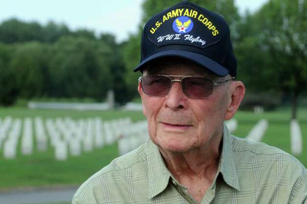 WWII army veteran Jerry Winters at his wife Eleanor Winters ,a WWII era Navy veteran , grave at Saratoga National Cemetery on Tuesday Aug. 18, 2015 in Schuylerville, N.Y.  (Michael P. Farrell/Times Union) Photo: Michael P. Farrell / 00033036A
