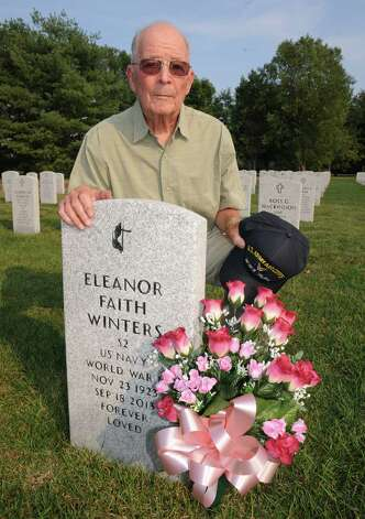 WWII army veteran Jerry Winters at his wife Eleanor Winters ,a WWII era Navy veteran, grave at Saratoga National Cemetery on Tuesday Aug. 18, 2015 in Schuylerville, N.Y.  (Michael P. Farrell/Times Union) Photo: Michael P. Farrell / 00033036A