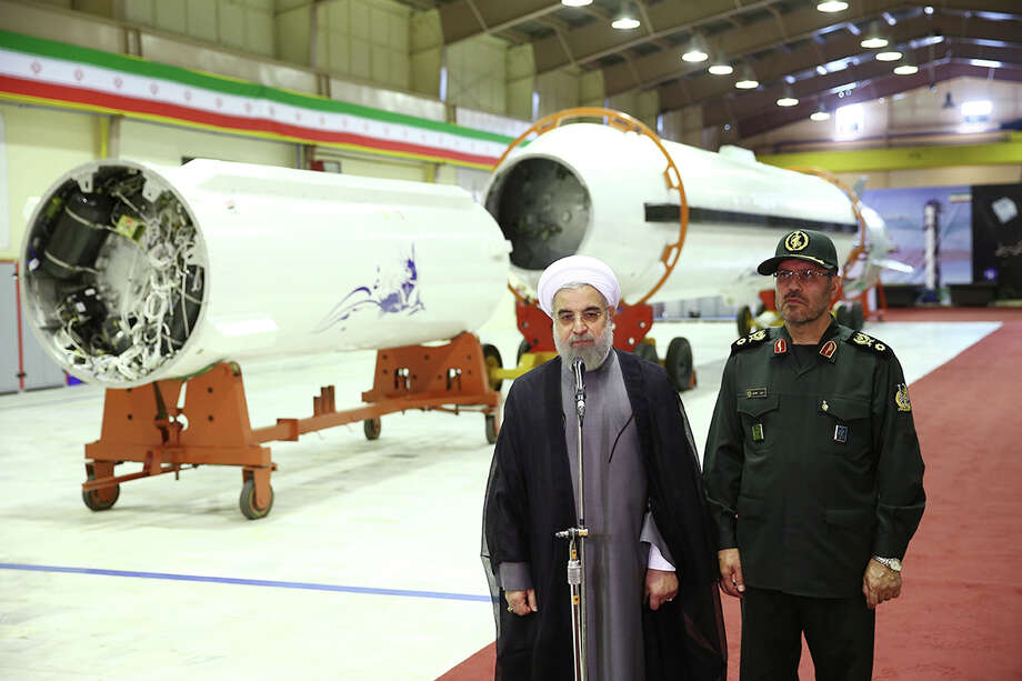 Iran's President Hassan Rouhani unveils the surface-to-surface missile, the Conqueror. Photo: Uncredited, HOGP / Office of the Iranian Presidency