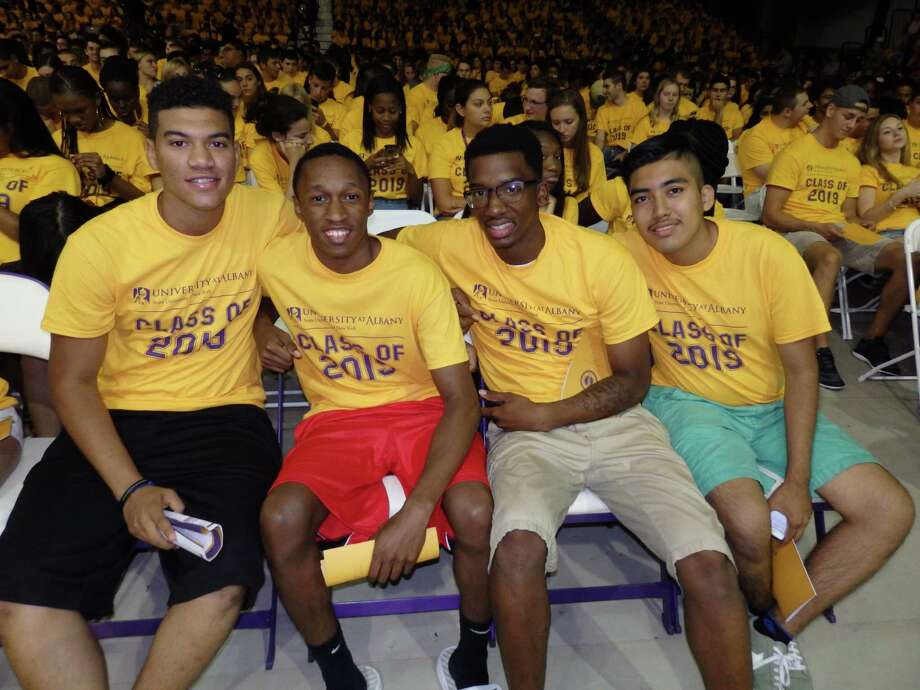 Were you Seen during the Convocation event at SEFCU Arena to officially welcome new students to UAlbany on Saturday, Aug. 22, 2015? Photo: Lamya Zikry