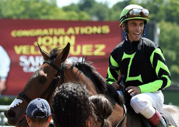 Jockey John Velazquez is all smiles after he won his 800th race on Run a Dubb Dubb at the Saratoga Race Course Saturday afternoon Aug. 22, 2015 in Saratoga Springs, N.Y.      (Skip Dickstein/Times Union) Photo: SKIP DICKSTEIN