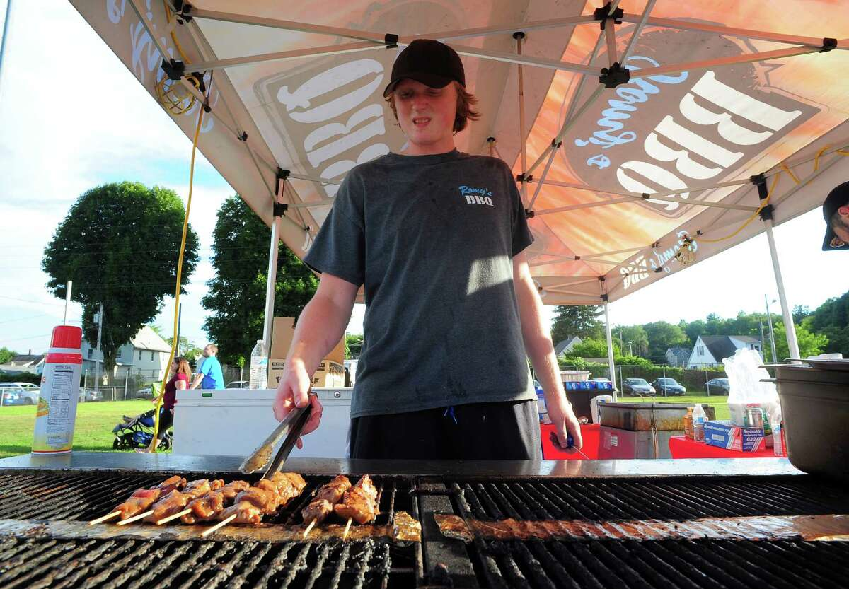 Dan Olszewski, with Romy's BBQ of Newtown, cooks shish kabobs at the