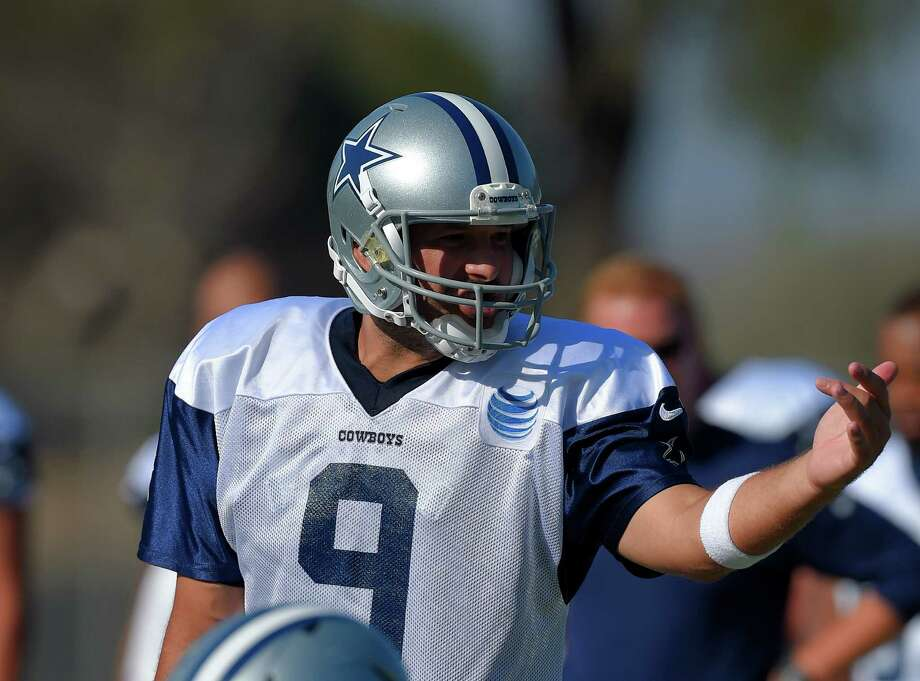 Dallas Cowboys quarterback Tony Romo gestures gets set to pass during a joint NFL football training camp, Tuesday, Aug. 18, 2015, in Oxnard, Calif. (AP Photo/Mark J. Terrill) Photo: Mark J. Terrill, STF / Associated Press / AP