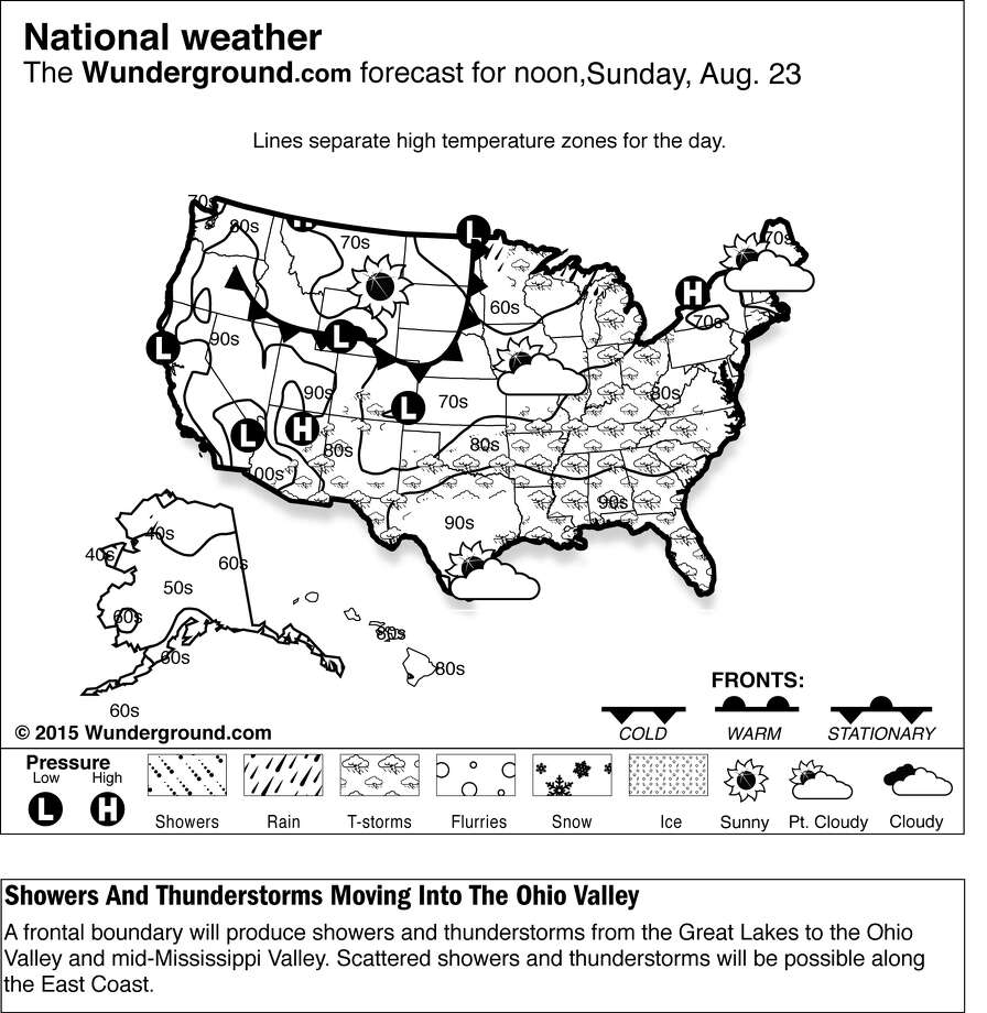This is a Weather Underground forecast for Sunday, Aug. 23, 2015, for the U.S. A frontal boundary will produce showers and thunderstorms from the Great Lakes to the Ohio Valley and mid-Mississippi Valley. Scattered showers and thunderstorms will be possible along the East Coast. (Weather Underground via AP) Photo: HONS / Weather Underground